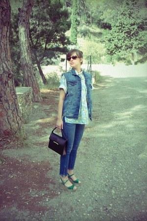 blue H&M jeans - aquamarine cotton FIND DE LUXE shirt
