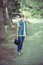 Blue-h-m-jeans-aquamarine-cotton-find-de-luxe-shirt