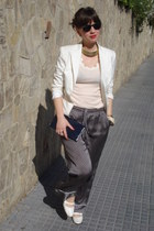 silk Oysho pants - vintage shoes - Zara blazer - Ray Ban sunglasses