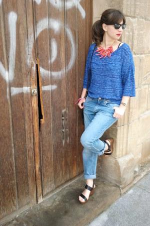 blue H&M jeans - black Zara bag - black Ray Ban sunglasses - blue H&M jumper