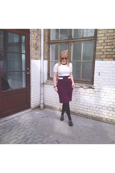 black Lola Ramona shoes - crimson vintage dress second hand dress