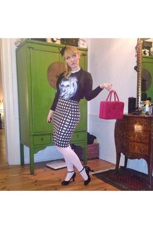 black Lady gaga t-shirt - ruby red vanity case vintage bag