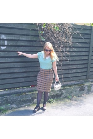 brown pencil skirt thrifted vintage skirt - dark brown Irregular Choice shoes