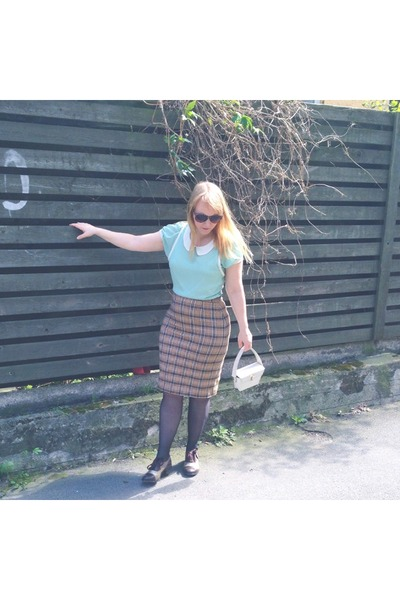 brown pencil skirt thrifted vintage skirt - dark brown Irregular Choice shoes