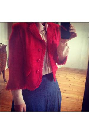 red vintage vintage jacket - light pink feminine Kontatto shirt