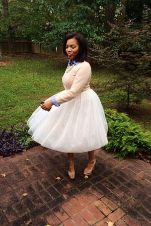 light pink Forever 21 sweater - eggshell Ebay skirt - light pink heels