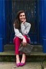 Heather-gray-massimo-dutti-sweater-hot-pink-zara-heels