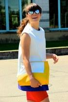 deep purple Zara dress - red Zara dress - yellow joseph bag
