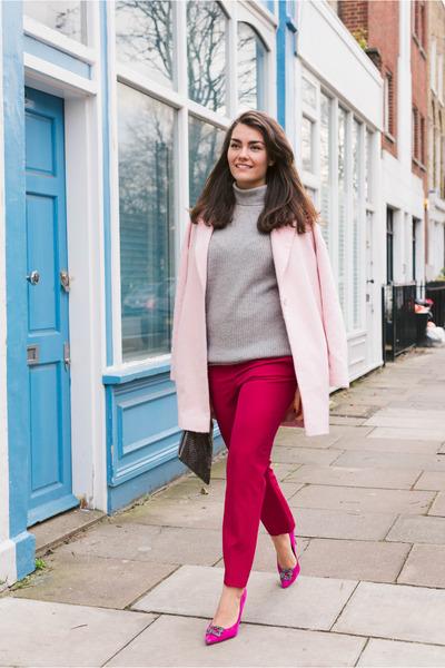 heather gray Massimo Dutti sweater - hot pink Zara heels