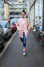 Light-pink-asos-coat-light-blue-slim-zara-jeans-lemon-green-michael-kors-bag