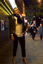 black Topshop pants - gold SANDRO blazer