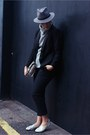 Black-h-m-blazer-black-topshop-pants