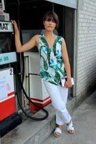 aquamarine Zara top - white Gant jeans - white Office flats