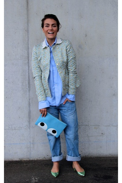light blue Anya Hindmarch bag - turquoise blue Rochas blazer