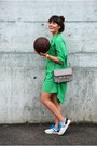 Green-shirdress-loose-zara-dress-heather-gray-ps11-proenza-schouler-bag