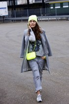 SANDRO coat - Blue Ridge jeans - grey printed The Kooples sweater - Zara bag