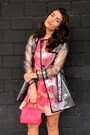 Pink-red-valentino-dress-silver-red-valentino-coat-hot-pink-paul-ka-bag