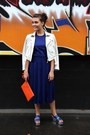Navy-cedric-charlier-dress-carrot-orange-anya-hindmarch-bag