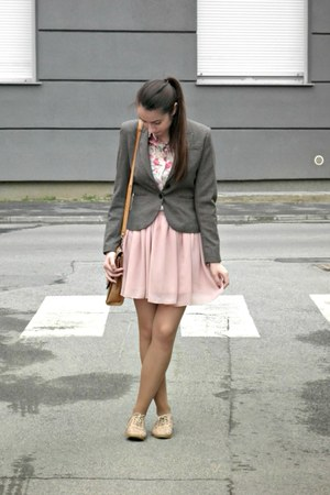 heather gray H&M blazer - bubble gum OASAP skirt