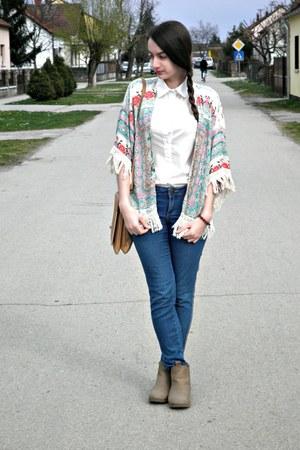 camel H&M boots - white choiescom shirt - aquamarine choiescom cardigan