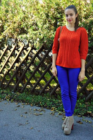 blue H&M jeans - carrot orange vintage jumper