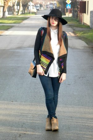 camel H&M boots - white choiescom shirt - black beste shop cardigan