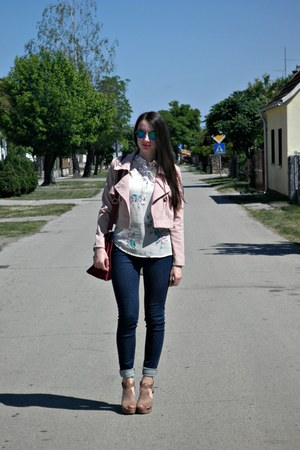 navy pull&bear jeans - pink StyleMoi jacket - light yellow Romwecom top