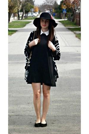 black beste shop hat - dark gray WalG dress - black beste shop cardigan