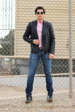 black Forever 21 jacket - blue 7 for all mankind jeans