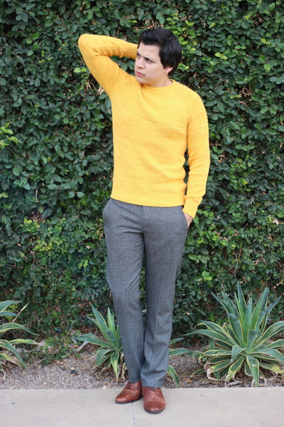 brown Aldo shoes - gold H&M sweater - heather gray Express pants