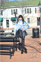 black Kelsy Dagger shoes - sky blue calvin klein sweater - peach Furla bag