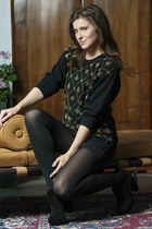 black Kelsi Dagger boots - black vintage sweater - black Express tights