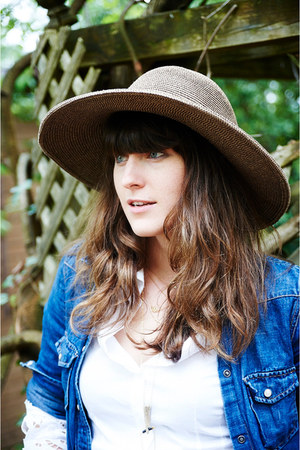 navy denim JCrew shirt - light brown vintage hat - blue denim DIY shorts