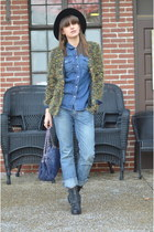 black Target boots - sky blue Express jeans - black American Apparel hat