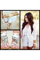 light blue stripes romper - white H&M blazer - heather gray Aldo wedges