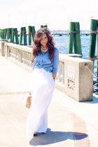 blue Tommy Hilfiger blouse - white maxi BCBG skirt