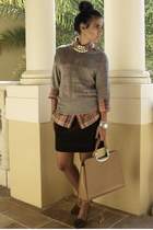 tawny Ralph Lauren top - dark brown Gap skirt