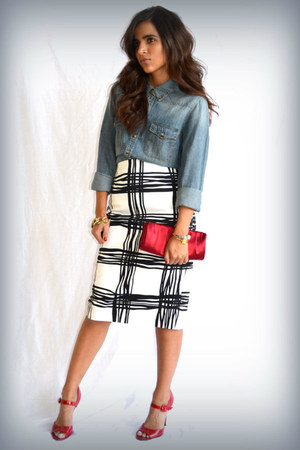 black Express skirt - light blue chambray H&M top
