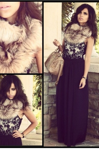 light brown faux fur Target scarf - black maxi BCBG skirt