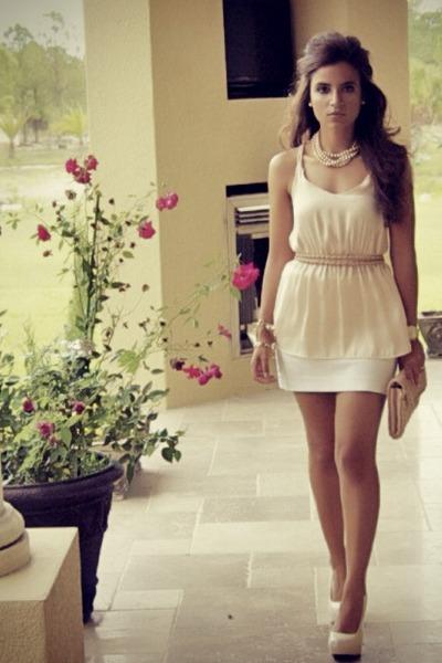 peach blouse - light pink clutch Forever 21 bag - white mini skirt Express skirt