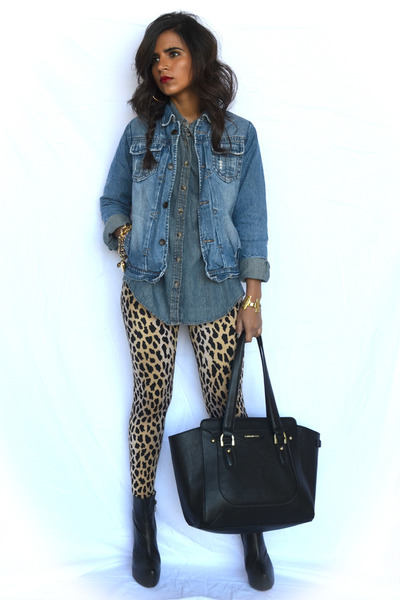 blue chambray H&M top - camel Forever 21 leggings