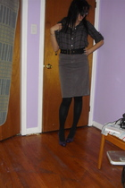 purple Costa Blanca shirt - gray Costa Blance skirt - black American Apparel soc