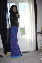 charcoal gray Steve Madden boots - purple maxi dress thrifted vintage dress - bl