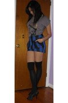 black Guess shoes - black American Apparel socks - blue skirt - gray shirt