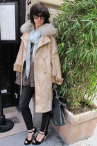 beige roberto cavalli coat - black Alexander McQueen pants - blue Alexander McQu