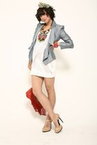 white asos dress - gray asos jacket - red asos accessories - beige asos shoes