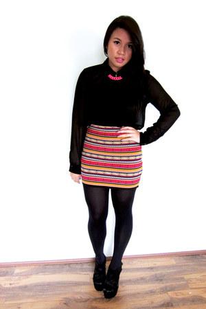 blockout skirt - chiffon Forever21 blouse - Lovisa necklace - Dotti wedges