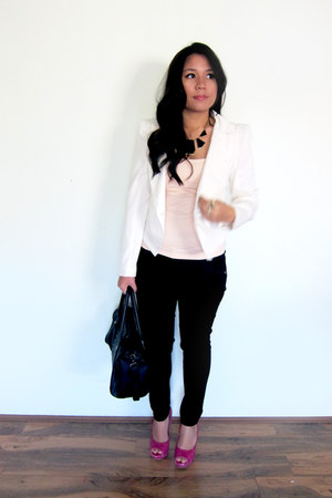 black Nudie Jeans jeans - white Show Pony blazer - black Collete bag