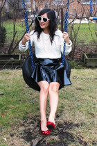 black patent leather asos skirt - ivory cable knit Ralph Lauren sweater