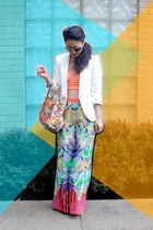 orange printed longchamp bag - white Zara blazer - orange palazzo Akira pants